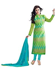 Surat Tex Light Green Color Party Wear Embroidered Chanderi Un-Stitched Dress Material-H978DL9408