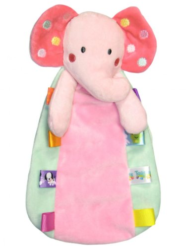 Taggies Elephant Baby Girls Plush Security Blanket Lovie By Taggies - Pink - Not Applicable front-727512