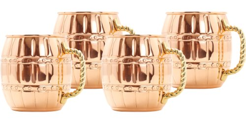 16-Ounce Solid Copper Barrel Mule Mug, Set Of 4 front-396133