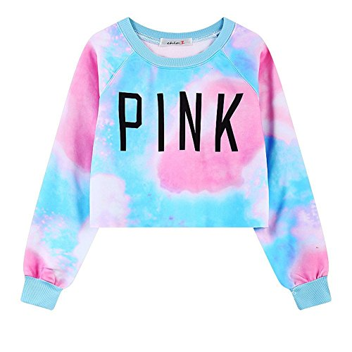 Girls Teens Womens Sweetshirt Pullover Sweater Crop Tops(Tie Dye Pink 1) (Teenagers Clothes compare prices)