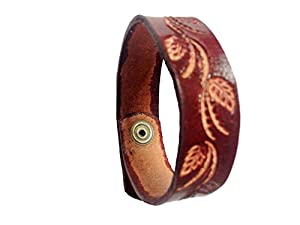 men engraved leather wristbands cuff bracelets handmade