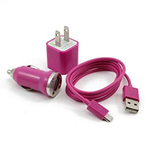 Hot Pink 3in1 US Plug Wall Charger + Mini Car Charger + Micro USB Data Charger Cable for Samsung Galaxy S2 S3 i9100 i9300 i9070 i9103