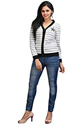 Limeberry Womens Buttoned Grey and white Cardigans