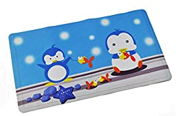 ABELE (R) Design Penguin Rubber Non Slip Baby Kids Safety Shower Tub Bath Mat, Skid Proof and Anti Bacterial, Mildew Mold Resistant Bathtub Mat, w/ Cloth Coating (Fish & Penguin)