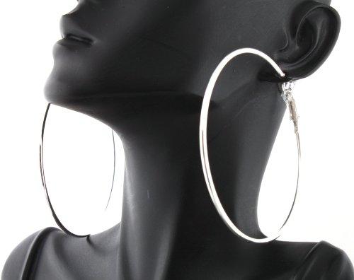 Ladies Poparazzi Silver 2.75 Inch Plain Hoop Earrings