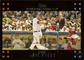 2007 Topps #40 Derek Jeter w/ Mickey Mantle & George Bush - New York Yankees - SUPER HOT CARD - Baseball Trading Cards