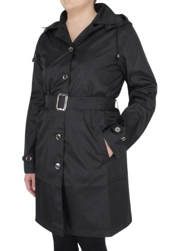 Capelli New York Ladies Solid Trench with Leopard Lining and Belt Jet Black Large at Amazon.com