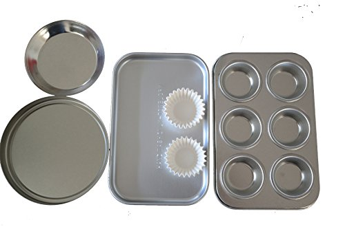 Easy Oven Bake Cake Pan 4 Pans and 25 Cup Cake Papers Set Includes Cupcake Pan Square Pan and 2 Round Pan