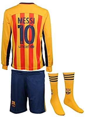 2015/2016 Barcelona Lionel Messi #10 Away Football Soccer Long Sleeve Jersey & Shorts & Socks Youth Sizes