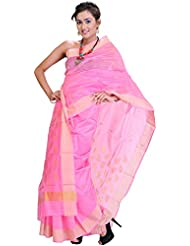 Exotic India Lemonade-Pink Chanderi Sari With Golden Woven Leaves - Pink