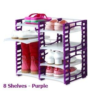 8 Shelf PURPLE Modular Flexi Shoe Rack - Plastic Interlocking Shoe Organizer Shoe Shelves