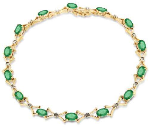 9ct Yellow Gold 0.12ct Diamond and Emerald Bracelet 18.5cm/7.25