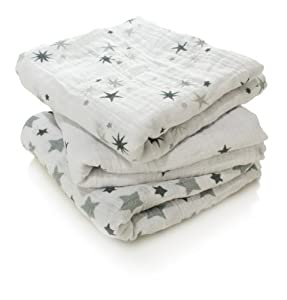 aden + anais 7203G - Pack de 3 paños multiuso, prelavados con muselina de 100% algodón marca 0