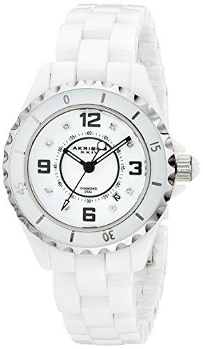 Akribos XXIV Women's AK485WT-N Ceramic Quartz Date Diamond Watch