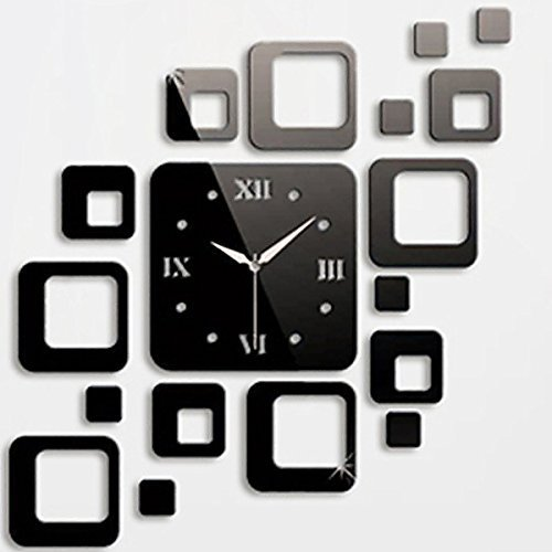 TPT Black Squares Luxury Mirror Wall Clock Art DIY Clock Mirror Stickers/Wall Stickers/Wall decals/Wall tattoos for Home Decoration