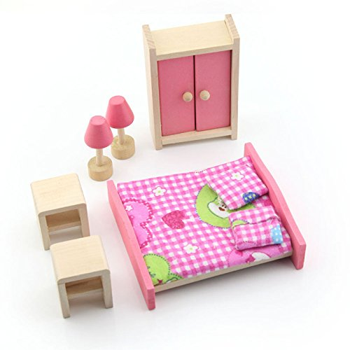 pink wooden miniature children bedroom furniture set toys for kid