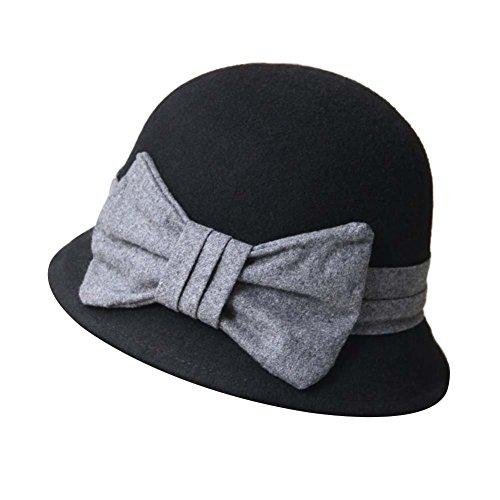 lgant-gros-bowknot-laine-feutre-chapeau-laine-chapeau-melon-chapeau-de-Billycock-Fedora-noir