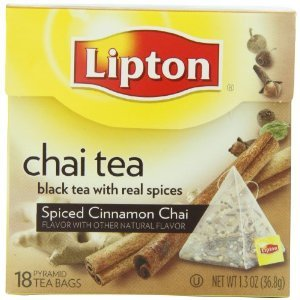 Lipton Pyramid Tea Bags, Spiced Cinnamon Chai 18 Ct (Pack Of 12)