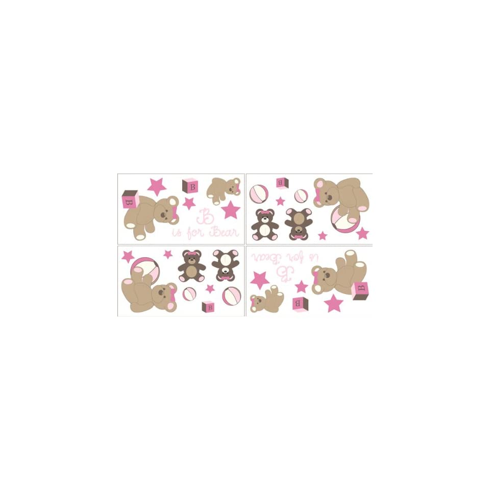 Pink and Chocolate Teddy Bear Girls Baby and Kids Wall Decal Stickers   Set of 4 Sheets
