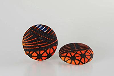 """Fabric button earrings (1 1/2""""), African fabric button earrings, Ankara fabric button earrings, Fabric Earrings, Button earrings (Amala)"""