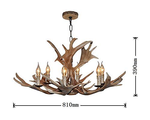EFFORTINC Vintage Style Resin Deer Horn Antler Chandelier,6Lights(Bulbs Not Included) 1