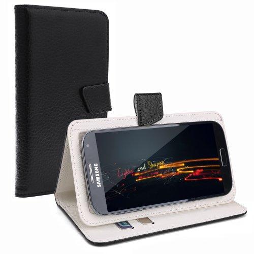 """Schwarz Litchi Leder Schutz-hülle Tasche Case Cover für 4,0"""" - 4,5"""" Zoll Handy Smart Phone, kompatibel mit Samsung Galaxy S4 I9505, Samsung GALAXY S3 i9300, Samsung Galaxy G3500, NOKIA LUMIA 625, Nokia Lumia 720, Nokia Lumia Icon, SONY ERICSSON XPERIA T LT30P, LG OPTIMUS TRUE HD LTE P936, LG E975 Optimus G, LG PRADA PHONE P940, HTC Evo 3d Smartphone, ARCHOS 45 Helium 4G, ARCHOS 45 Titanium, CUBOT GT72 Smartphone, CUBOT ONE 4.7"""" IPS 720P HD 3G Smartphone, ZTE Blade G (11,4 cm) 4,5 Zoll, HTC ONE M"""