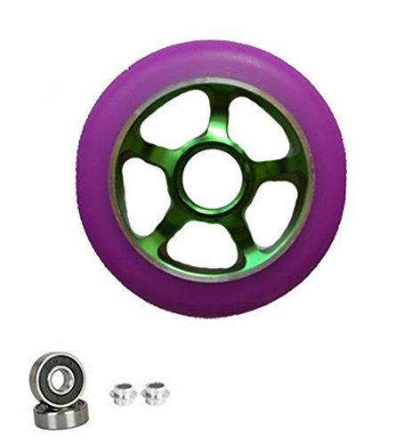 1 pair pro scooter wheels metal core green ninja blade100mm 88a abec 11 bearings (Profile Push Stem compare prices)