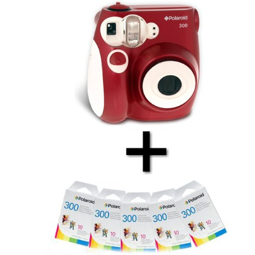 Polaroid 300 Instant Camera - Red and 50 Film