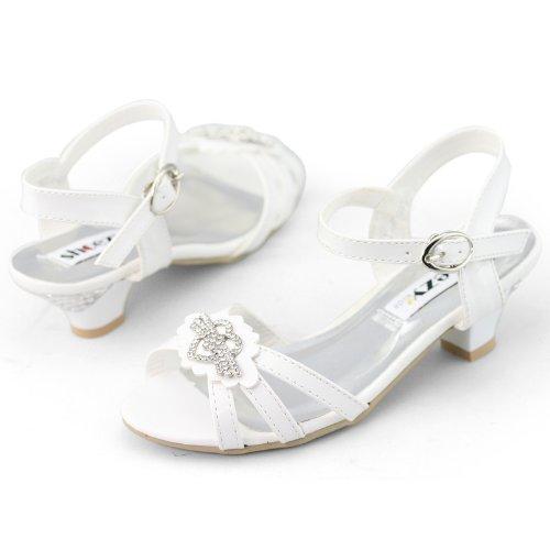 Shoezy Kids Girls Xmas Party Patent Rhinestones Ankle Strap Low Heels Sandals