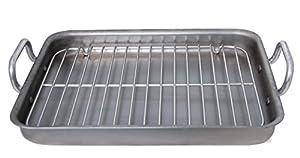 De Buyer 5664.40 Rectangular Steel Roasting Pan Mineral B Element with 2 Aluminum Handles, Grey