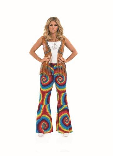 1960s Hippie Tie Dye Female Fancy Dress Flares - XXL (UK 24-26)