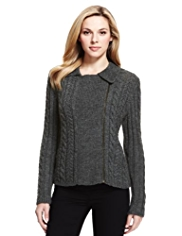 M&S Collection Cable Knit Biker Cardigan with Wool