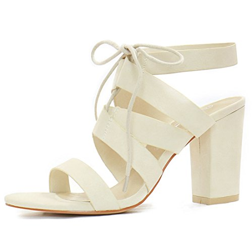 Allegra K Women Chunky High Heels Cutout Lace Up Sandals Ivory (Size US 6)
