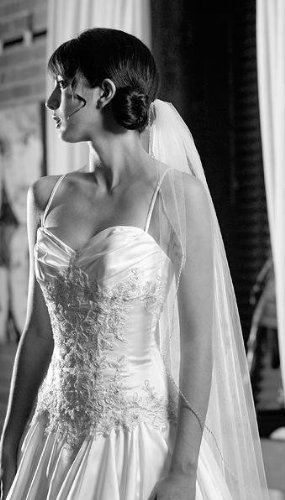 "Buy Weddingstar - Weddingstar Inc. Single Layer Veil In Soft Tulle With Beaded Edging - Ivory  72"" Wide, 40\"" Long"