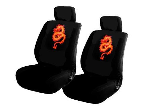A Set of 2 Universal Fit Low Back Bucket Seat Cover with Separate Adjustable Headrest - Dragon Red