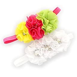 My Lello Infants Chiffon Fabric Beaded Flower Lined Stretchy Elastic Headbands Pair (Hot Pink/Yellow/Green/White)