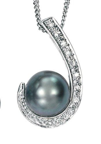 9ct White Gold Diamond Black Freshwater Pearl Pendant