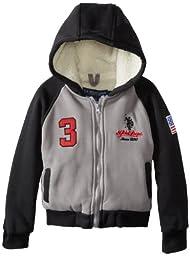 U.S. Polo Association Little Boys\' Fleece Jacket with Sherpa Hood and Body Lining, Heather Grey, 7