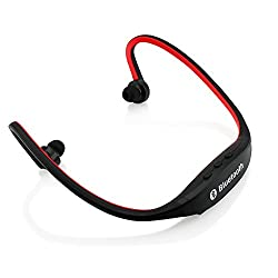 Gearonic Sports Wireless Stereo Bluetooth Wrap Around Earphones Headset Headphone for Samsung iPhone Cellphone PC - Non-Retail Packaging - Red