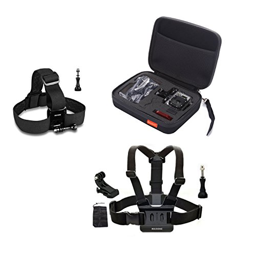 "Masione™ Pefect Set Gopro Mount Accessory :Head Belt Strap + Chest Harness + Medium Carrying And Travel Case (8.6"" X2.7"" X6.7"") For Gopro Hero1, Hero2, Hero3, Hero3+ Camera"