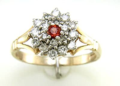 Ladies 9ct Yellow Gold Diamond And Ruby Cluster Ring