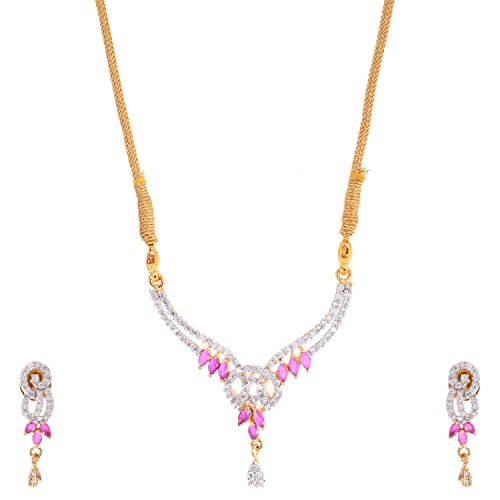 Bharat Sales Gold Plated Red Alloy Necklace Set For Women - B00YPASPZ8