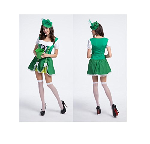 Maconaz Halloween Green Beer Girl Bavarian Bar Maid Costume