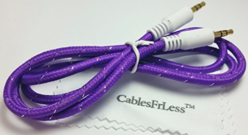 3Ft 3.5Mm Heavy Duty Braided Audio Stereo Jack Cable (Purple)
