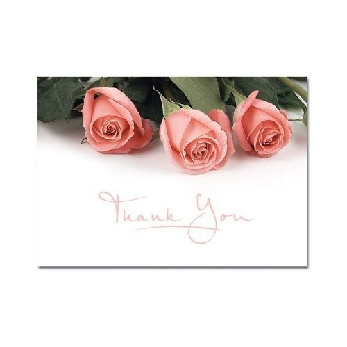 Pink Roses Thank You Note Cards and Envelopes