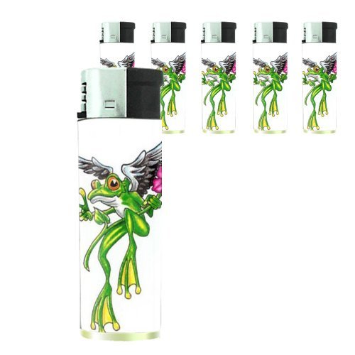 frog-peace-angel-flower-tattoo-butane-refillable-electronic-lighter-set-of-5-pieces-d-173-by-perfect