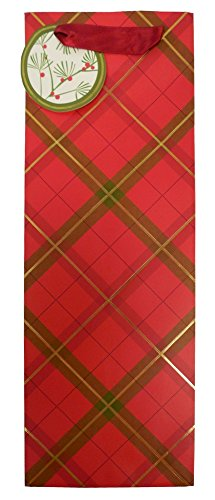 The Gift Wrap Company 6 Count Bottle Gift Bags, Tartan