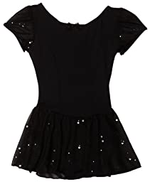 Capezio Little Girls\' Sequined Puff Sleeve Dress, Black, Small (4-6)