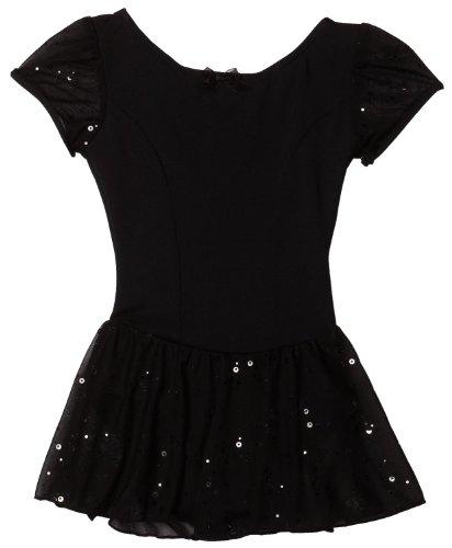 Capezio Little Girls' Sequined Puff Sleeve Dress, Black, Intermediate (6-8) front-358344