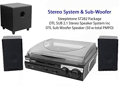 Review and Buying Guide of Buying Guide of Steepletone ST282 Record Player Turntable (3 speed: 33, 45 & 78rpm) - Black / Silver - Built in Amplifier & Speakers PLUS separate 50 watt PMPO Speaker System with Sub Woofer DTL 2.1 - TONE CONTROL & VARIABLE PITCH (DTL adapter included) - ST918 upgraded model